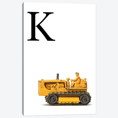 K Bulldozer Yellow White Letter Canvas Print #SNT149} by Saint and Sailor Studios Canvas Art