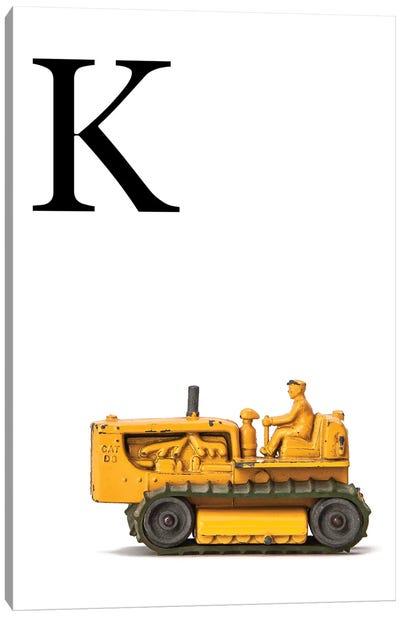 K Bulldozer Yellow White Letter Canvas Art Print