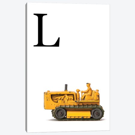 L Bulldozer Yellow White Letter Canvas Print #SNT150} by Saint and Sailor Studios Canvas Print