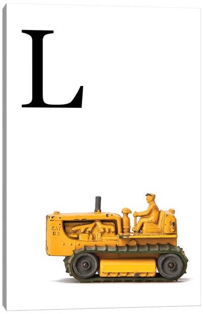 L Bulldozer Yellow White Letter Canvas Art Print