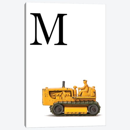 M Bulldozer Yellow White Letter Canvas Print #SNT151} by Saint and Sailor Studios Canvas Print