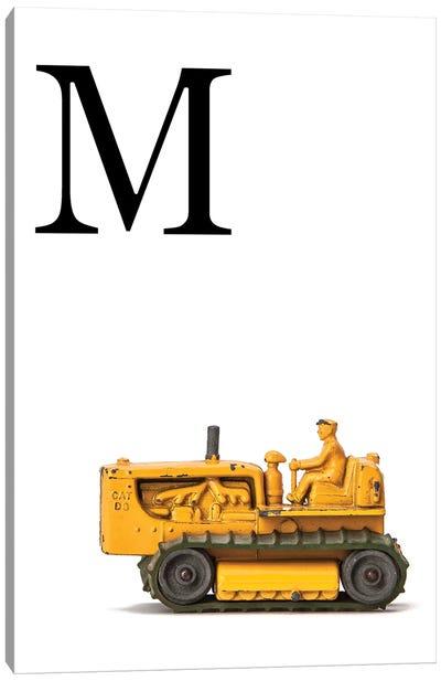M Bulldozer Yellow White Letter Canvas Art Print