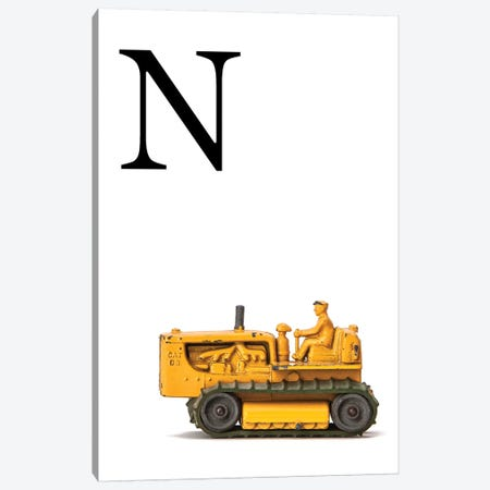 N Bulldozer Yellow White Letter Canvas Print #SNT152} by Saint and Sailor Studios Canvas Art Print