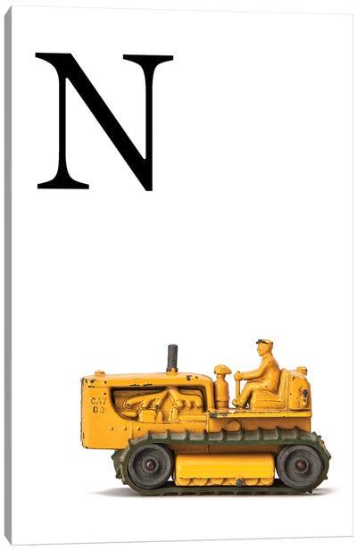 N Bulldozer Yellow White Letter Canvas Art Print
