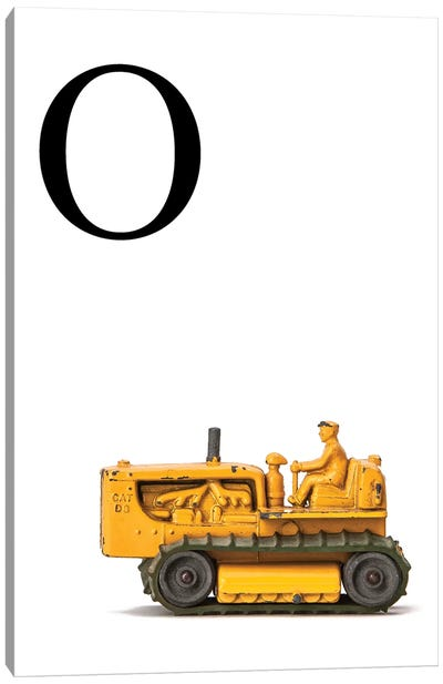 O Bulldozer Yellow White Letter Canvas Art Print