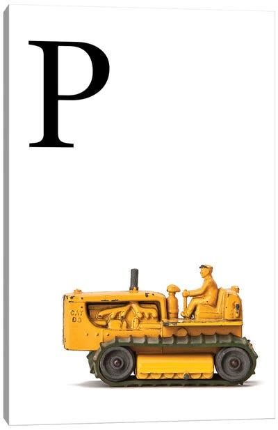 P Bulldozer Yellow White Letter Canvas Art Print