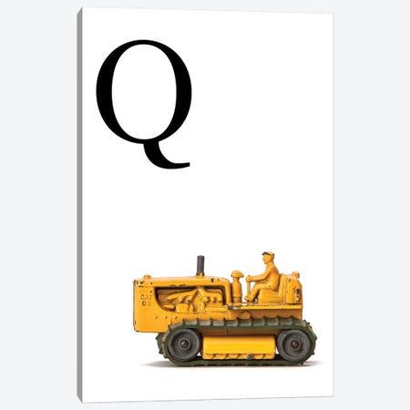 Q Bulldozer Yellow White Letter Canvas Print #SNT155} by Saint and Sailor Studios Canvas Art
