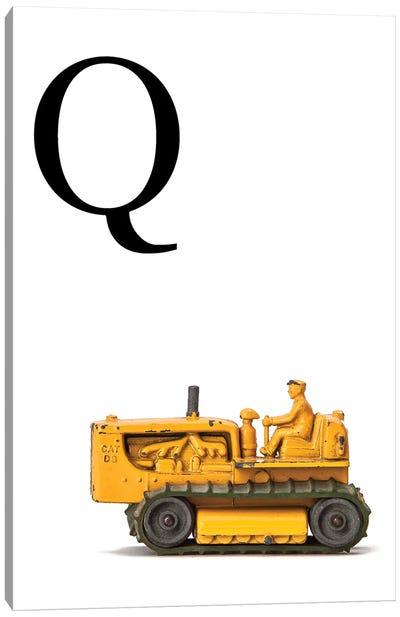 Q Bulldozer Yellow White Letter Canvas Art Print