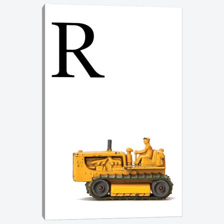 R Bulldozer Yellow White Letter Canvas Print #SNT156} by Saint and Sailor Studios Canvas Wall Art