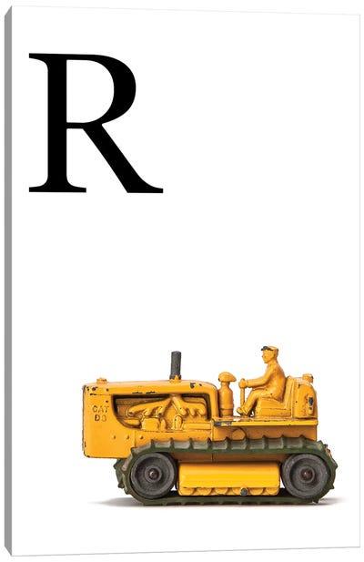 R Bulldozer Yellow White Letter Canvas Art Print