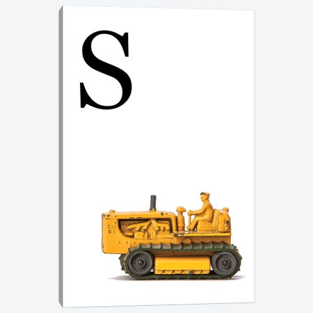 S Bulldozer Yellow White Letter Canvas Print #SNT157} by Saint and Sailor Studios Canvas Artwork
