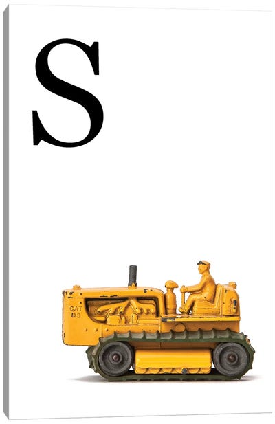 S Bulldozer Yellow White Letter Canvas Art Print