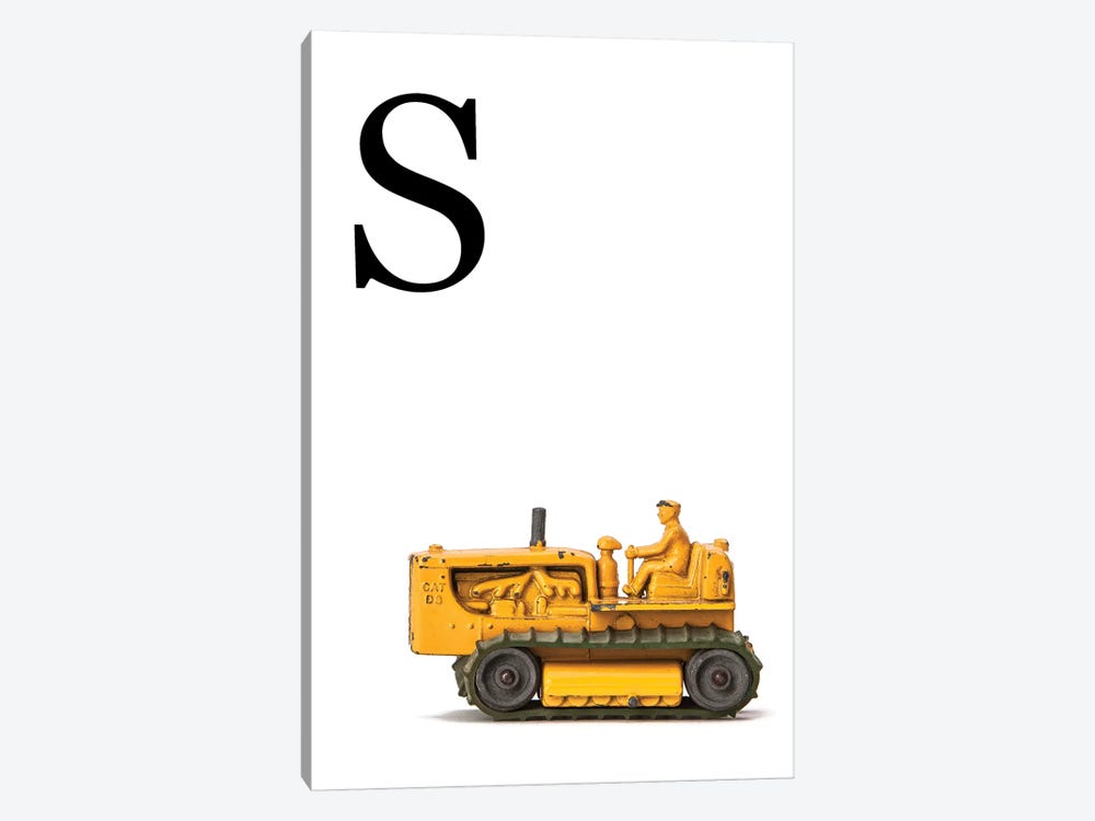 S Bulldozer Yellow White Letter by Saint and Sailor Studios 1-piece Canvas Print