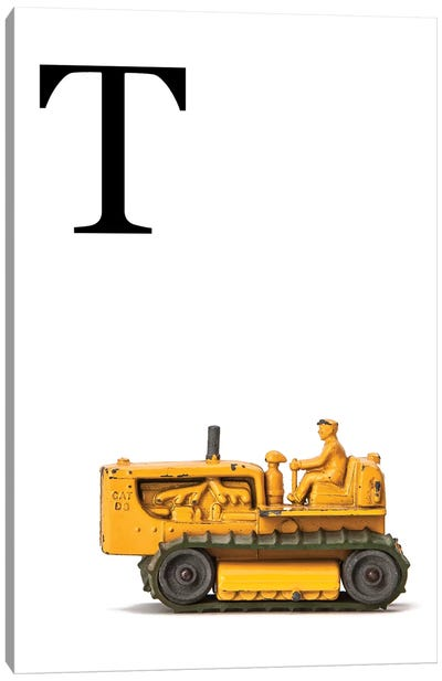 T Bulldozer Yellow White Letter Canvas Art Print