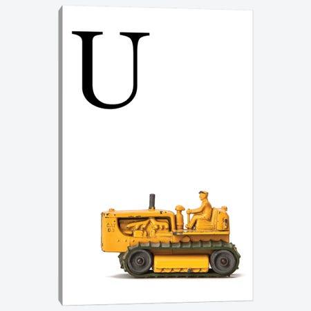 U Bulldozer Yellow White Letter Canvas Print #SNT159} by Saint and Sailor Studios Canvas Art Print