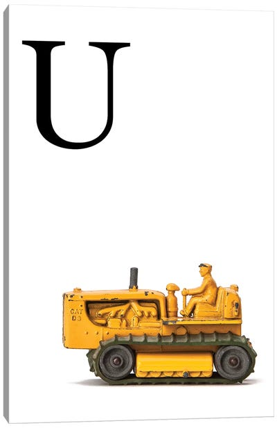 U Bulldozer Yellow White Letter Canvas Art Print