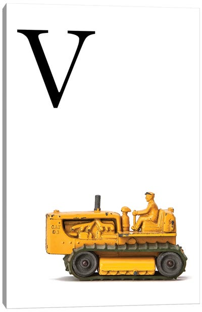 V Bulldozer Yellow White Letter Canvas Art Print