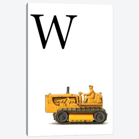 W Bulldozer Yellow White Letter Canvas Print #SNT161} by Saint and Sailor Studios Canvas Artwork