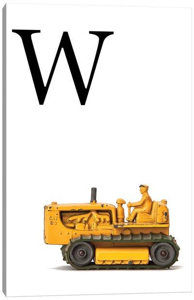 W Bulldozer Yellow White Letter Canvas Art Print