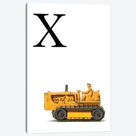 X Bulldozer Yellow White Letter Canvas Print #SNT162} by Saint and Sailor Studios Canvas Artwork