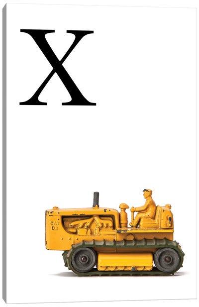 X Bulldozer Yellow White Letter Canvas Art Print