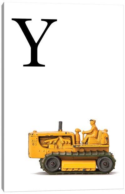 Y Bulldozer Yellow White Letter Canvas Art Print