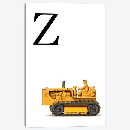 Z Bulldozer Yellow White Letter Canvas Print #SNT164} by Saint and Sailor Studios Canvas Art Print