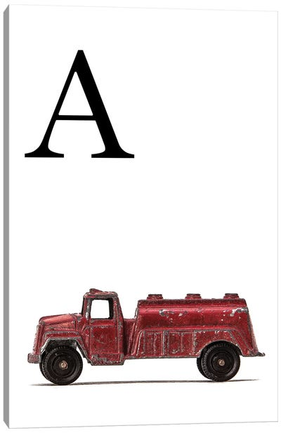 A Water Truck White Letter Canvas Art Print