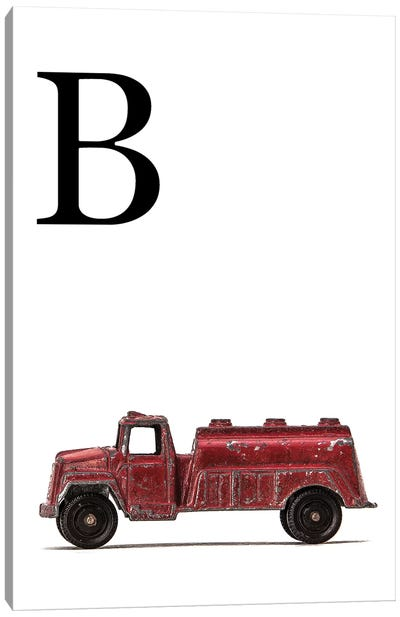 B Water Truck White Letter Canvas Art Print