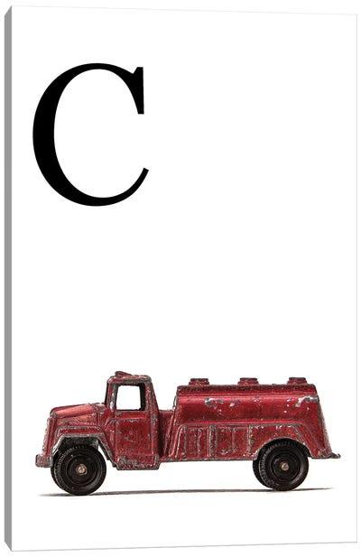 C Water Truck White Letter Canvas Art Print