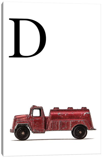 D Water Truck White Letter Canvas Art Print