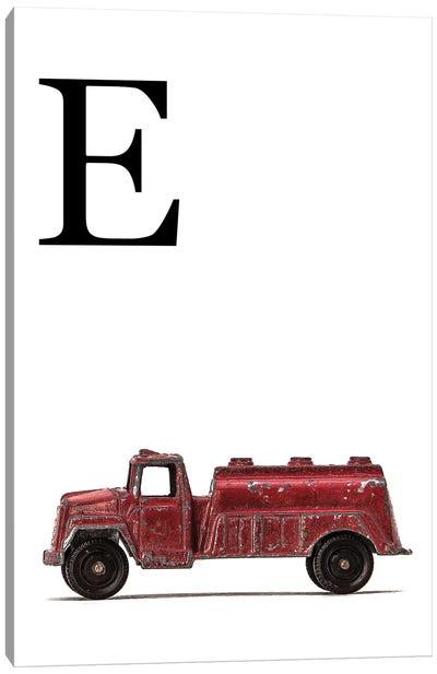 E Water Truck White Letter Canvas Art Print