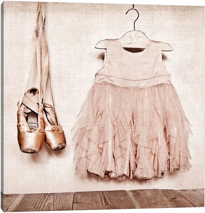 Baby Girl Dress And Ballet Slippers Canvas Art Print