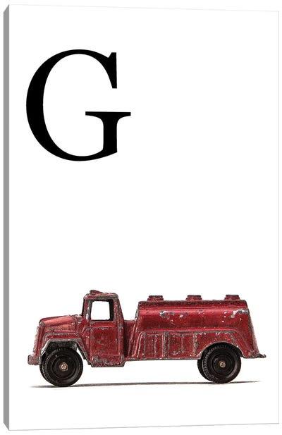 G Water Truck White Letter Canvas Art Print