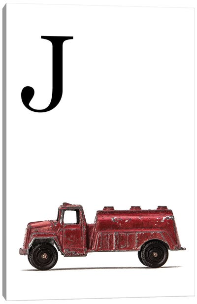 J Water Truck White Letter Canvas Art Print