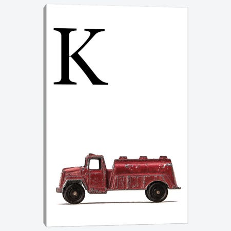 K Water Truck White Letter Canvas Print #SNT175} by Saint and Sailor Studios Canvas Artwork