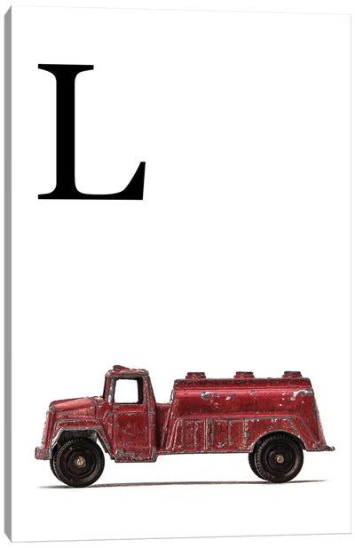 L Water Truck White Letter Canvas Art Print