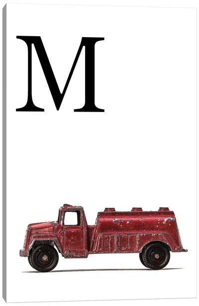 M Water Truck White Letter Canvas Art Print