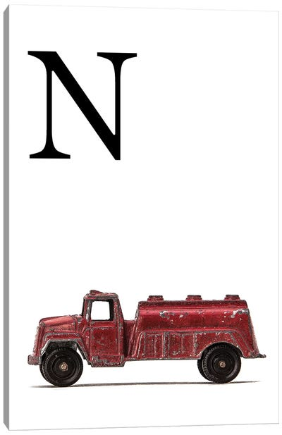N Water Truck White Letter Canvas Art Print