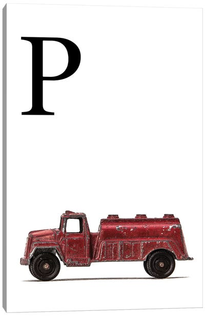 P Water Truck White Letter Canvas Art Print