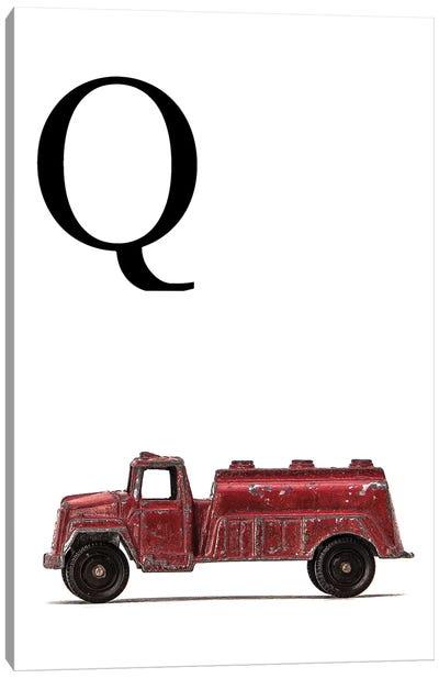 Q Water Truck White Letter Canvas Art Print