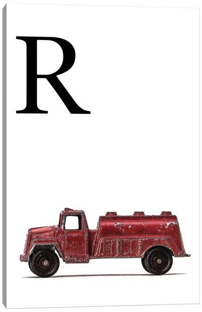 R Water Truck White Letter Canvas Art Print