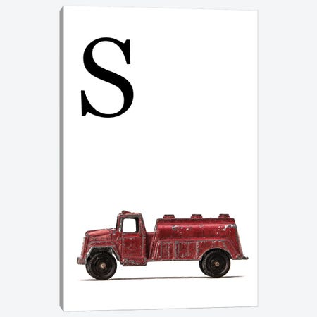 S Water Truck White Letter Canvas Print #SNT183} by Saint and Sailor Studios Canvas Artwork