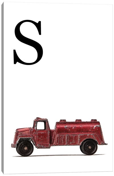 S Water Truck White Letter Canvas Art Print