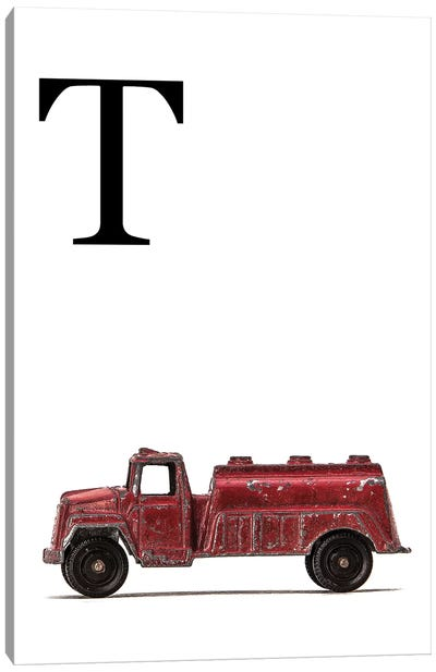 T Water Truck White Letter Canvas Art Print