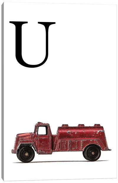 U Water Truck White Letter Canvas Art Print