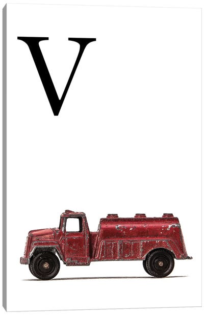 V Water Truck White Letter Canvas Art Print