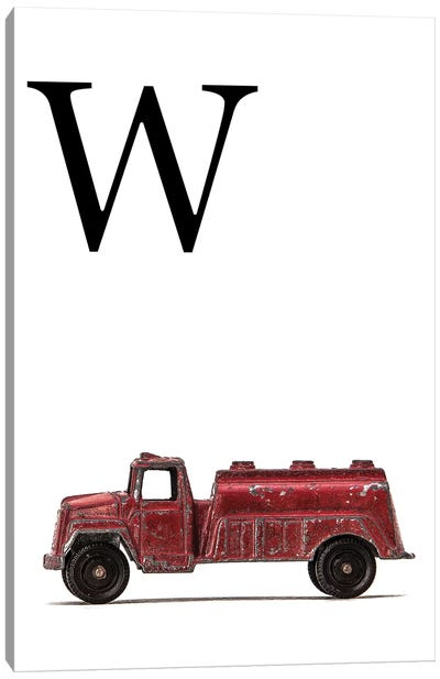 W Water Truck White Letter Canvas Art Print