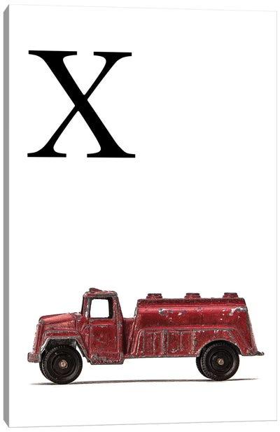 X Water Truck White Letter Canvas Art Print