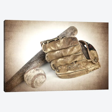 Baseball Bat Glove Canvas Print #SNT20} by Saint and Sailor Studios Canvas Artwork